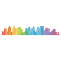 OFFICE DECO TRANSFERS COLORFUL SKYLINE