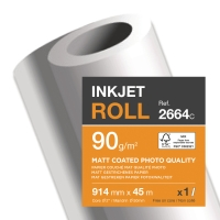 MATT PAPER UNCOATED WHITE PLOTTER ROLLS 90GSM - BOX OF 6