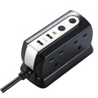 MASTERPLUG COMPACT SURGE PROTECTOR 4-WAY + 2 USB