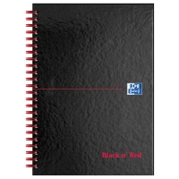 BLACK N  RED WHITE A5 WIREBOUND NOTEBOOK (RULED) - 70 SHEET BOOK