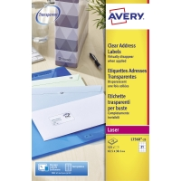 AVERY L7560-25 QUICKPEEL CLEAR LASER ADDRESSING LABELS 63.5 X 38.1MM - BOX OF 25