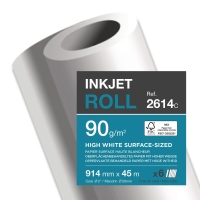 BRIGHT WHITE INKJET PAPER UNCOATED PLOTTER ROLLS 90GSM - BOX OF 6