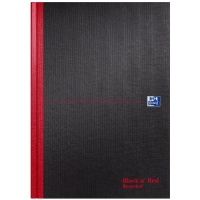 BLACK N RED A4 CASEBOUND RECYCLED NOTEBOOK