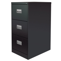 SILVERLINE BLACK 3-DRAWER FILING CABINET H1009MM X W458MM X D622MM