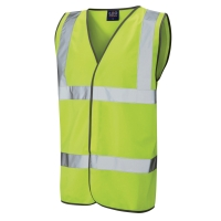HIGH VISIBILITY SLEEVELESS 2 BAND WAISTCOAT YELLOW LARGE