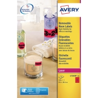 AVERY L7263R HIGH VISIBILITY & PROMOTIONAL LABELS 99.1X38.1MM NEON RED-BOX OF 25