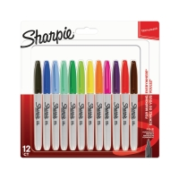 SHARPIE FINE PERMANENT MARKERS ASSORTED - BOX OF 12
