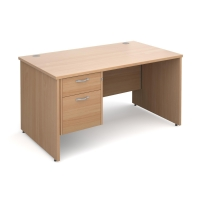 PANEL ENDED H FRAME MODULAR DESK WITH FIXED 2 DRAWER PEDESTAL BEECH