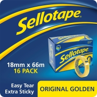 SELLOTAPE GOLDEN TAPE 18MMX66M CLEAR - PACK OF 16