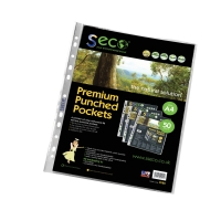 SSECO BIODEGRADABLE A4 PUNCHED POCKETS 80 MICRON - PACK OF 50