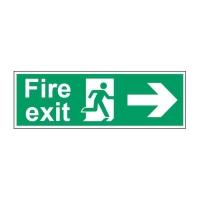 FIRE EXIT RIGHT SIGN 450 X 150MM VINYL
