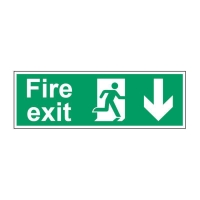 FIRE EXIT DOWN SIGN 450 X 150MM VINYL