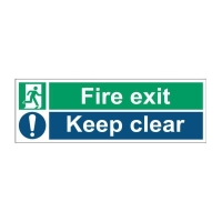 FIRE EXIT KEEP CLEAR SIGN 450 X 150MM VINYL