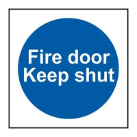 FIRE DOOR KEEP SHUT SIGNS 100 X 100MM VINYL - PACK OF 5
