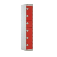 STEEL LOCKER 1800H x 300W x 450D, 6-DOOR, RED