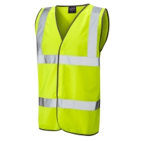 HIGH VISIBILITY SLEEVELESS 2 BAND WAISTCOAT YELLOW SMALL