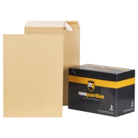 NEW GUARDIAN MANILLA C3 PEEL AND SEAL PLAIN ENVELOPES 125GSM - BOX OF 125
