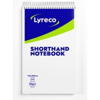 LYRECO WHITE 8 X 5INCH SHORTHAND NOTEBOOKS (RULED) - PACK OF 6 (6 X 200 SHEETS)