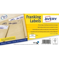 AVERY FL01 MANUAL FEED FRANKING MACHINE LABELS 140 X 37MM - BOX OF 1000