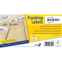AVERY FL04 HOPPER FED FRANKING MACHINE LABELS 140 X 37MM - BOX OF 1000