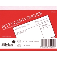 PETTY CASH VOUCHER PADS 127 X 102MM - PACK OF 10 PADS (10 X 100 SHEETS)