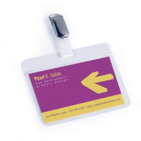 DURABLE SELF-LAMINATING BADGES 54 X 90MM - METAL CLIP - BOX OF 25