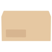 LYRECO MANILLA DL GUMMED WINDOW ENVELOPES 70GSM - BOX OF 1000