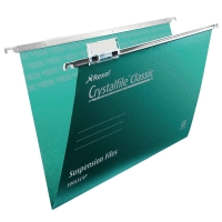 REXEL CRYSTALFILE GREEN FOOLSCAP SUSPENSION FILES V BASE - PACK OF 50