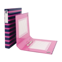 PUKKA 2O-RING BINDER A4 40MM PINK/NAVY STRIPES