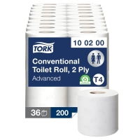 TORK 472149 CONVENTIONAL TOILET ROLL 2 PLY 200 SHEET WHITE - PACK OF 36 (4 X 9)