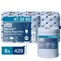 TORK REFLEX 473263 BLUE WIPING PAPER PLUS 2 PLY 150M - PACK OF 6
