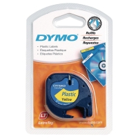 DYMO LETRATAG PLASTIC LABELLING TAPE 4M X 12MM - BLACK ON YELLOW