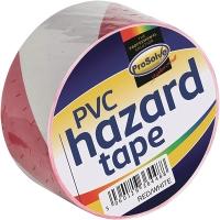 ROLL HAZARD WARNINGTAPE Red 50MM 33MTR ADHESIVE White
