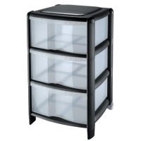 BLACK 3 DRAWER STORAGE TOWER