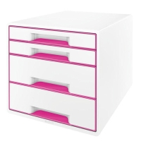 LEITZ  WOW DESK CUBE 4 DRAWER PINK/WHITE